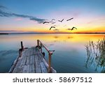 pier into the clouds | Shutterstock . vector #58697512