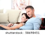 couple relaxing at home in... | Shutterstock . vector #58698451