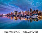 vancouver city skyline view... | Shutterstock . vector #586984793