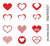 set of red hearts icons. vector ... | Shutterstock .eps vector #586985837