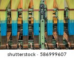 textile machinery close up view