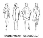 Sketch. Fashion Girls on a white background | Shutterstock vector #587002067