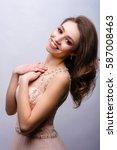 slavic woman is happy on... | Shutterstock . vector #587008463
