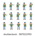 big set of mountaineer... | Shutterstock .eps vector #587021993