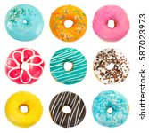 set of various colorful donuts... | Shutterstock . vector #587023973