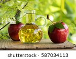 apple cider vinegar is vinegar... | Shutterstock . vector #587034113