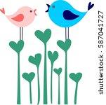cute birds on flower heart ... | Shutterstock .eps vector #587041727