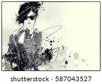 fashion girl in sketch style.... | Shutterstock . vector #587043527