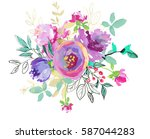 hand painted watercolor purple... | Shutterstock . vector #587044283