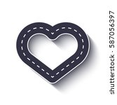 heart shape road icon.... | Shutterstock .eps vector #587056397