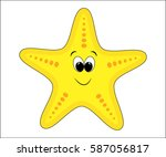 funny cartoon starfish. sea... | Shutterstock .eps vector #587056817