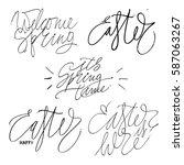 happy easter lettering for...   Shutterstock .eps vector #587063267