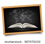 world map on open book on... | Shutterstock .eps vector #587070233