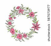 hand drawn floral wreath with... | Shutterstock .eps vector #587073977
