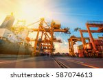 container container ship in... | Shutterstock . vector #587074613
