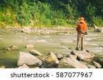 Fishing In River.a Fisherman...