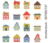 house vector set   simple home... | Shutterstock .eps vector #587082737