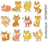 set of funny colored foxes on a ... | Shutterstock .eps vector #587089547