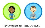 set of two hipster style... | Shutterstock .eps vector #587094653