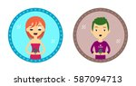 set of two hipster style... | Shutterstock .eps vector #587094713