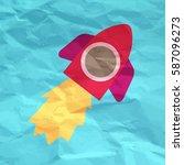 cartoon rocket textured. bright ... | Shutterstock .eps vector #587096273