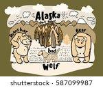 drawing funny animal alaska | Shutterstock .eps vector #587099987