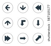 set of 9 simple arrows icons.... | Shutterstock .eps vector #587105177