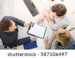 top toned of salesman... | Shutterstock . vector #587106497