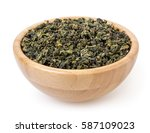Dry Green Oolong Tea In Wooden...