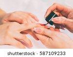 manicure process | Shutterstock . vector #587109233