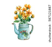 vintage blue metal teapot with... | Shutterstock . vector #587121887