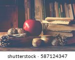 old vintage books on wooden... | Shutterstock . vector #587124347