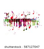 colorful piano keyboard with... | Shutterstock .eps vector #587127047