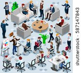 isometric financial people with ... | Shutterstock .eps vector #587147843