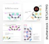 memphis geometric background... | Shutterstock .eps vector #587147993