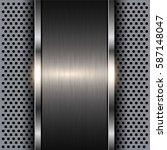 metallic banner on perforated ... | Shutterstock .eps vector #587148047