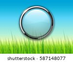 green background with grass and ... | Shutterstock .eps vector #587148077