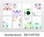 memphis geometric background... | Shutterstock .eps vector #587149703