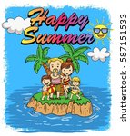 family in summer and coconut... | Shutterstock .eps vector #587151533