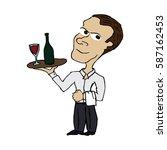 cartoon waiter | Shutterstock .eps vector #587162453