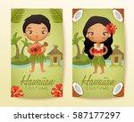 hawaiian  traditional costumes  ... | Shutterstock .eps vector #587177297