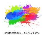 colorful spots set on white... | Shutterstock .eps vector #587191193
