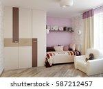 modern tender and bright pink... | Shutterstock . vector #587212457