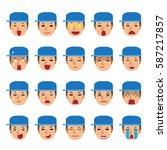 set of a technician faces... | Shutterstock .eps vector #587217857