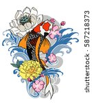 hand drawn koi fish with flower ... | Shutterstock .eps vector #587218373