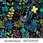 watercolor texture with flowers ... | Shutterstock . vector #587229107