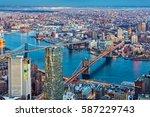 brooklyn and manhattan bridges... | Shutterstock . vector #587229743