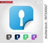 spoon icon. button with spoon...