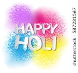 gulal for happy holi invitation ... | Shutterstock .eps vector #587231567