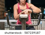 healthy fit woman training at... | Shutterstock . vector #587239187